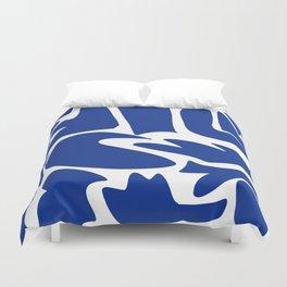 Blue shapes on white background Duvet Cover