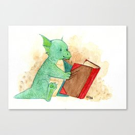 Reading baby dragon Canvas Print