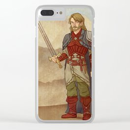 Fantasy Swordsman Clear iPhone Case