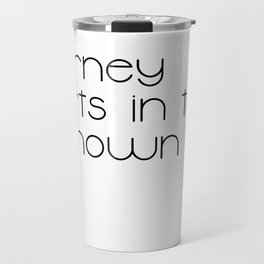The Journey Starts in the Unknown (Black) Travel Mug