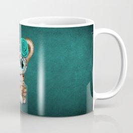 Blue Day of the Dead Sugar Skull Tiger Cub Coffee Mug