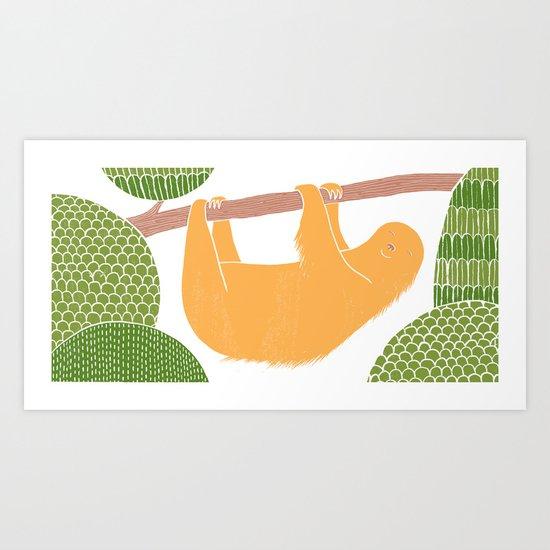 Sleepy Happy Sloth Art Print