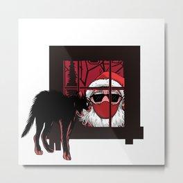 Black Scary Santa Looking Through Window Metal Print