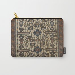 East Caucasus Old Century Authentic Colorful Brown Beige Teal Vintage Rug Pattern Carry-All Pouch