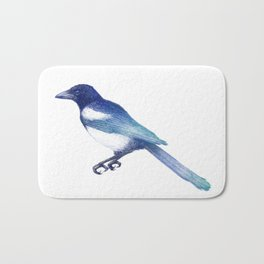 Magpie (Pica pica) - blue and turquoise Bath Mat