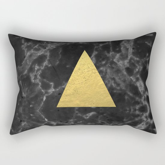 Black Gold Marble Tri - dark solid classic gold foil on marble cell phone case for college dorm  Rectangular Pillow