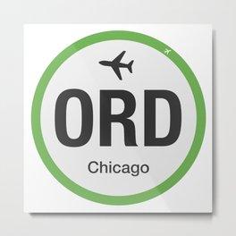 Airport code ORD Chicago Metal Print