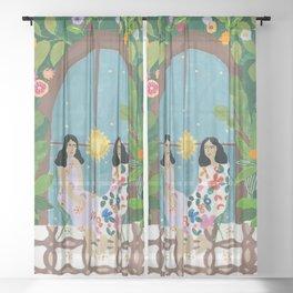 Coffee talk Sheer Curtain