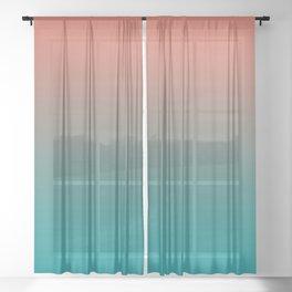 Pantone Living Coral & Viridian Green Gradient Ombre Blend Sheer Curtain