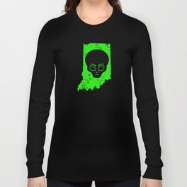 UFO Sightings Alien Head UFO Coverup Indiana Long Sleeve T-shirt