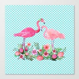 Flamingo Floral Tropical Canvas Print