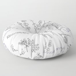 Summer herbs line drawing Floor Pillow
