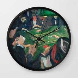 At the Roulette Table in Monte Carlo by Edvard Munch Wall Clock