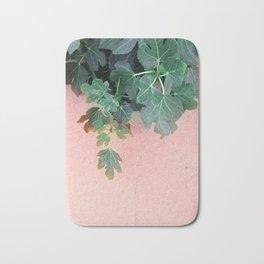 Pink Green Leaves Bath Mat
