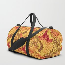 cute seamless abstract grass flower line pattern yellow red Duffle Bag