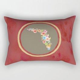 Florida Red and Tan Watercolor Flower Rectangular Pillow