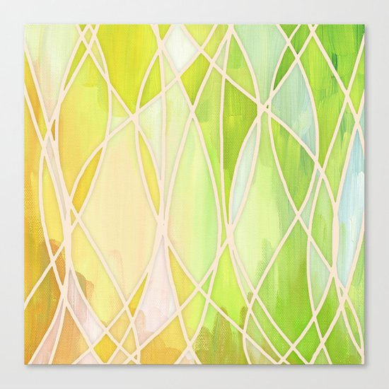 Lemon & Lime Love - abstract painting in yellow & green Canvas Print