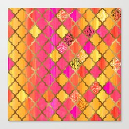 Moroccan Tile Pattern In Pink, Red, Orange, And Gold Canvas Print