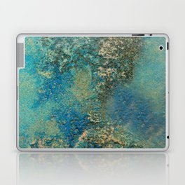 Blue And Gold Modern Abstract Art Painting Laptop & iPad Skin