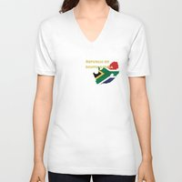 south africa V-neck T-shirts featuring Republic of South Africa by Dandy Octopus