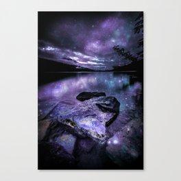 Magical Mountain Lake Purple Teal Canvas Print