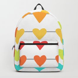 Rainbow Horizontal Heart Strings Backpack