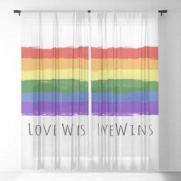 Lgbt Rainbow Flag Love Wins Sheer Curtain