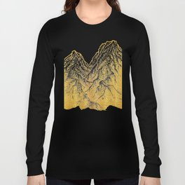"""遠望 series -""""Gold Valley"""" - Linocut Long Sleeve T-shirt"""