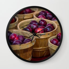 Baskets of peaches at Farmers Market Wall Clock