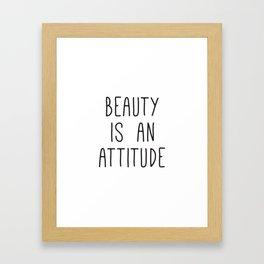 Beauty is an attitude, Wall Art Large, Typography Print, Scandinavian Art, Fashion Quotes Framed Art Print