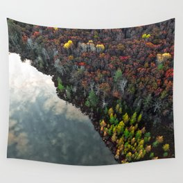 Dry Autumn Forest from Bird's eyes Wall Tapestry