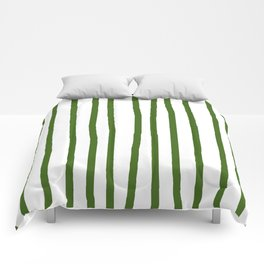 Simply Drawn Vertical Stripes in Jungle Green Comforters