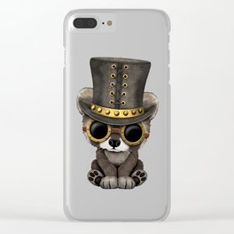 Steampunk Baby Raccoon Clear iPhone Case