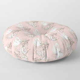 Beautiful Swan Reflection - Shell Pink Floor Pillow