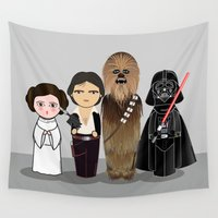 chewbacca Wall Tapestries featuring Kokeshis Star W by Pendientera