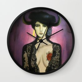 Flamenco dancer with horns and tattoo Wall Clock