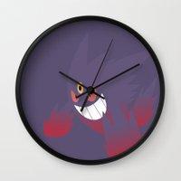gengar Wall Clocks featuring Mega Gengar by Rebekhaart