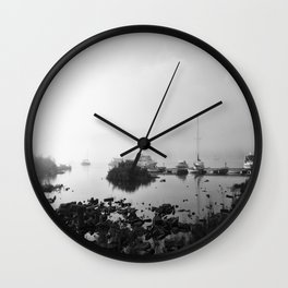 Foggy Harbor North Shore 4 BW Wall Clock