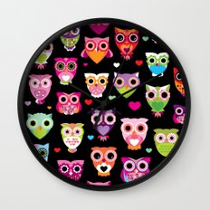 Owl cuteness colorful bird pattern parade Wall Clock