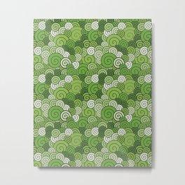 Circle green x white wall Metal Print