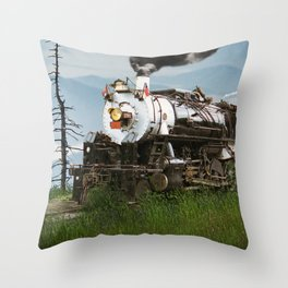 Smokey Mountain Railway Steam Locomotive Throw Pillow