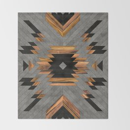 Urban Tribal Pattern No.6 - Aztec - Concrete and Wood Throw Blanket