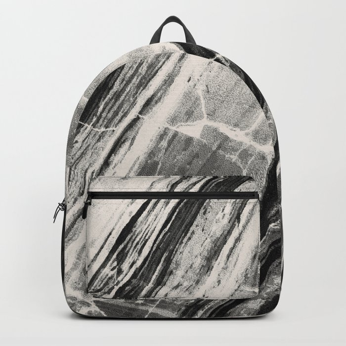 Abstract Marble - Black & Cream Backpack