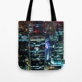 London Urban Skyline at Night Tote Bag