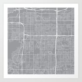 Tempe Map, Arizona USA - Pewter Art Print
