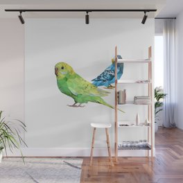 Geometric green and blue parakeets Wall Mural