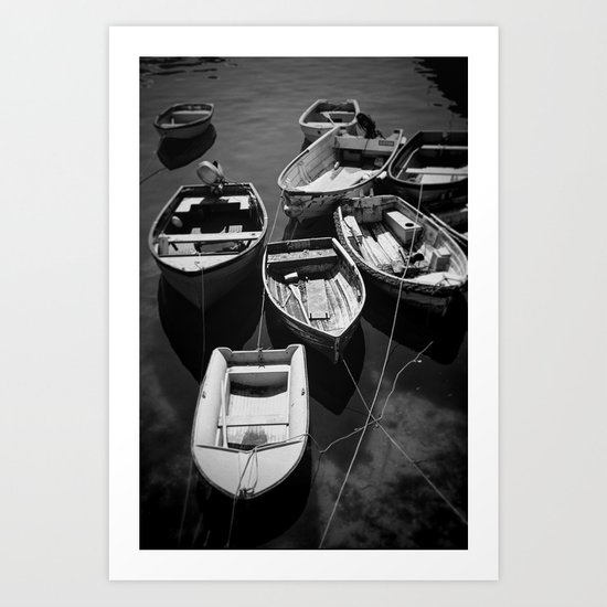 Nine Cornish Boats Art Print