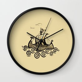 Viking ship 2 Wall Clock