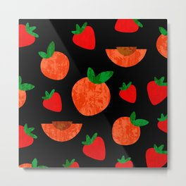 Tropical exotic peach slices and sweet red strawberries summer fruity bright sunny pastel white distressed cute black pattern design. Metal Print