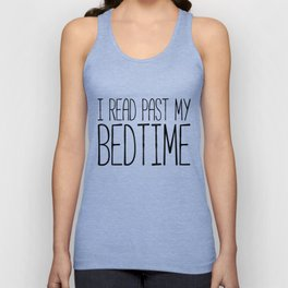 I read past my bedtime - Black and white (inverted) Unisex Tank Top